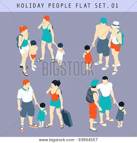Tourist People 3D Flat Isometric Set