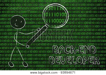 Man Inspecting Binary Code, Back-end Developer Jobs