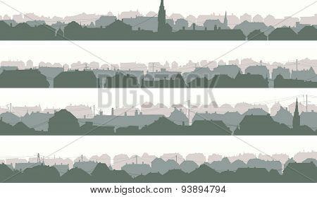 Horizontal Banners Of Big European City.