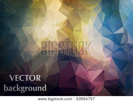 Abstract Vector Background Of Triangles Polygon Wallpaper. Web Design In Bright Colors