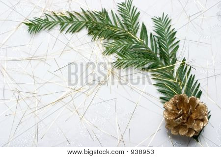 Holiday Card With Fir Branch And Golden Cone