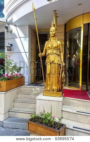 Statue On The Entrance Of Mosaic Hotel In Istanbul
