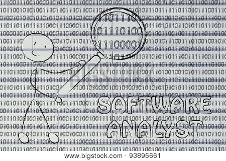 Man Inspecting Binary Code, Software Analyst Jobs