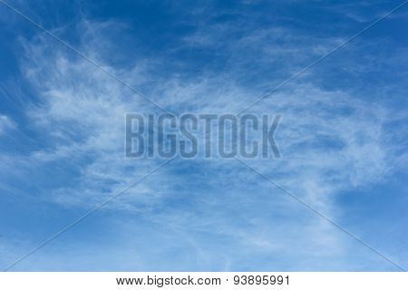 Beauty White Fluffy Clouds In The Blue Sky, Texture And Background