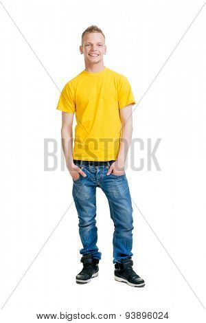 Teenage boy isolated on white