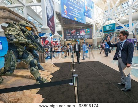 LOS ANGELES - June 17: Halo 5 Guardians game characters sculpture group at E3 2015 expo. Electronic Entertainment Expo, commonly known as E3, is an annual trade fair for the video game industry