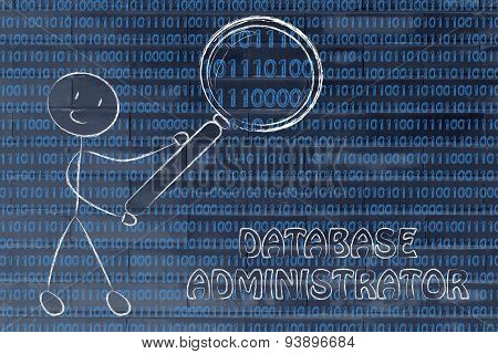 Man Inspecting Binary Code, Database Administrator Jobs