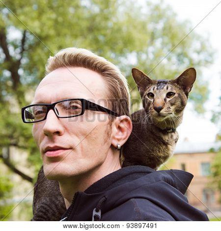 Close Up Cat Portrait Outdoor