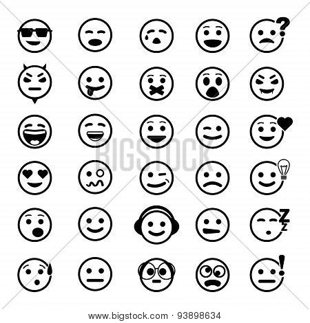 vector icons of smiley faces. Different emotions.