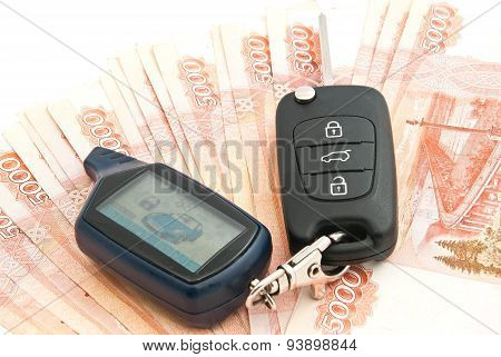 Russian Rubles Banknotes And Car Alarm