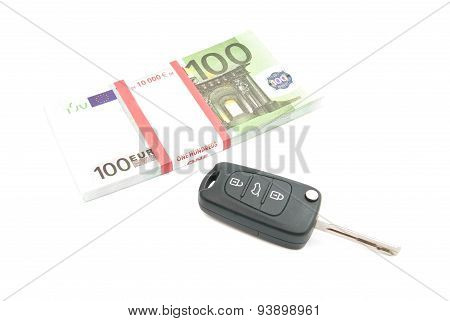 Pack Of One Hundred Euros Banknotes And Car Keys