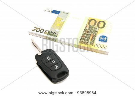 Two Hundred Euros Notes And Car Keys