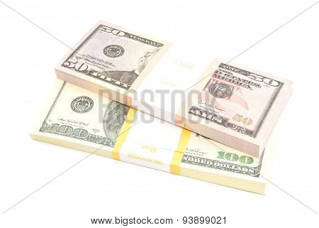 Two Packs Of Dollars Banknotes