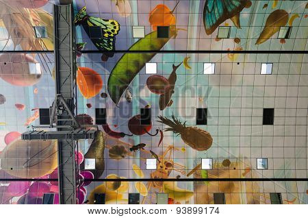 Rotterdam, Netherlands - May 9, 2015: Ceiling Of The New Artistic Markthal In Rotterdam