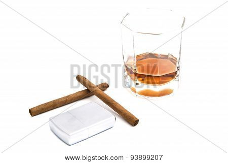 Cognac, Metal Lighter And Two Cigarillos