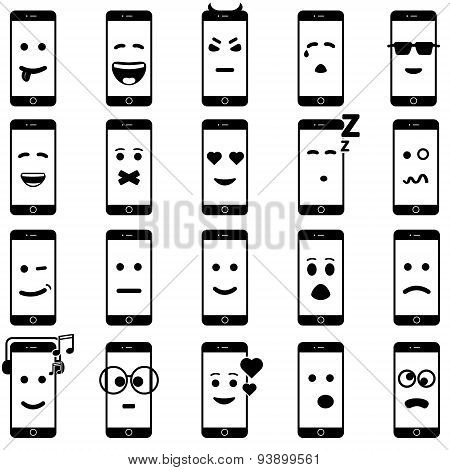 Icon mobile smartphone collection iphon style mockups with smiling faces isolated. Vector illustrati