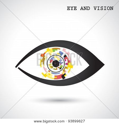 Creative Circle Abstract Vector Logo Design Background. Eye And Vision Concept.