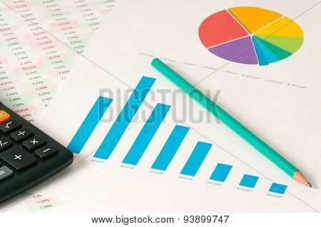 Multi Color Pie And Bar Charts With Calculator