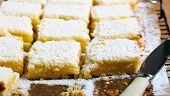 foto of icing  - Tangy lemon squares with icing sugar on rack - JPG