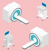stock photo of mri  - MRI and ECG medical devices isometric icon set vector graphic illustration - JPG