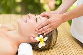 pic of day care center  - Close up of an attractive young woman receiving facial massage at spa center - JPG