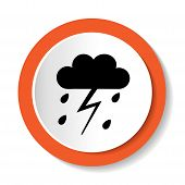 image of rain cloud  - Round vector icon clouds and rain drops - JPG