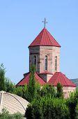 stock photo of chapels  - Chapel of the Holy Trinity Cathedral of Tbilisi or Tsminda Sameba in Georgia - JPG