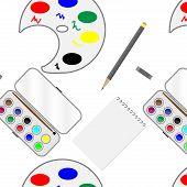 image of paint palette  - Seamless paint pattern - JPG