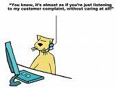 stock photo of rep  - Business cartoon on bad customer service - JPG