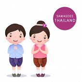 foto of polite girl  - A vector illustration of Thai kids in traditional costume and Sawasdee on white background - JPG