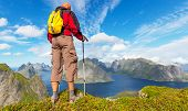 picture of lofoten  - hike in Norway mountains - JPG