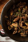 stock photo of morel mushroom  - Organic Sauteed Morel Mushrooms REady to Eat - JPG