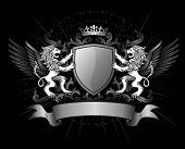 stock photo of shield  - Two Lions Holding Shield with Crown and Banner - JPG