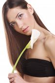 stock photo of calla  - beautiful woman with calla flower isolated on white - JPG
