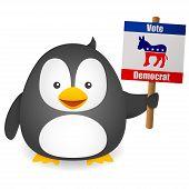 stock photo of jackass  - Penguin Vote for Democrat on white background - JPG