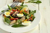 image of quail egg  - Fish salad with quail eggs - JPG