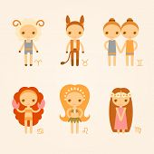 Постер, плакат: Vector illustrations of zodiac signs