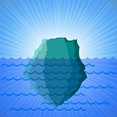 pic of iceberg  - Big Snow Iceberg on Blue Water  Background - JPG