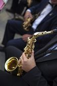 pic of orchestra  - Saxophonists and their instruments in a classical orchestra - JPG