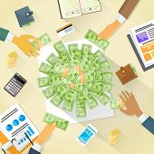 picture of money  - Money on Desk Hands Business People Group Crowd Funding Put Money Donation Investors Vector Illustration - JPG
