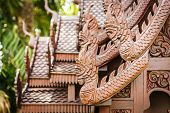 picture of carving  - Close up Wooden house Thai style wood carving - JPG