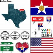 stock photo of texans  - Vector set of Dallas Texas in USA with flag and icons on white background - JPG