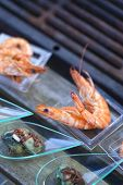 picture of buffet  - Shrimp oysters and vinegar cream on a buffet - JPG