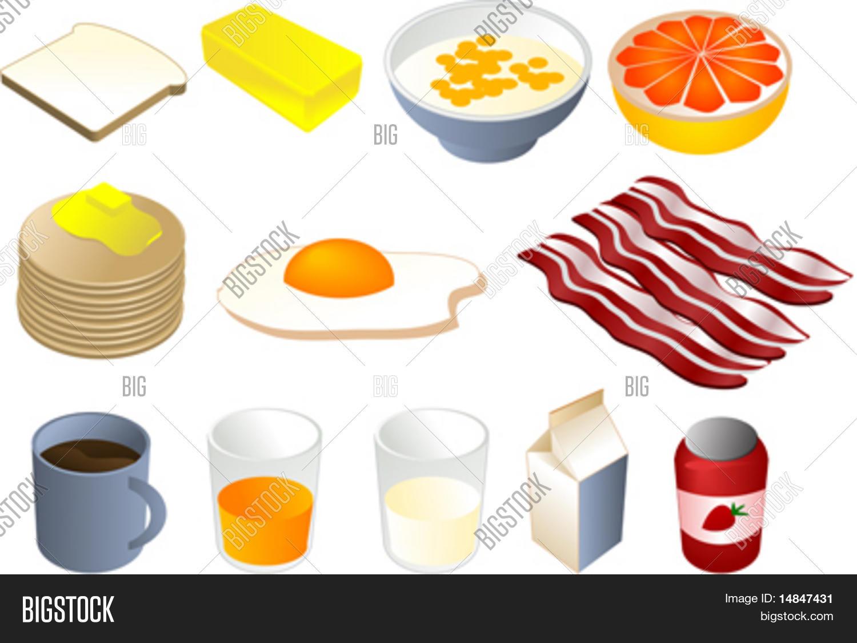 ... cereal, grapefruit, pancakes, fried egg, bacon, coffee, orange juice