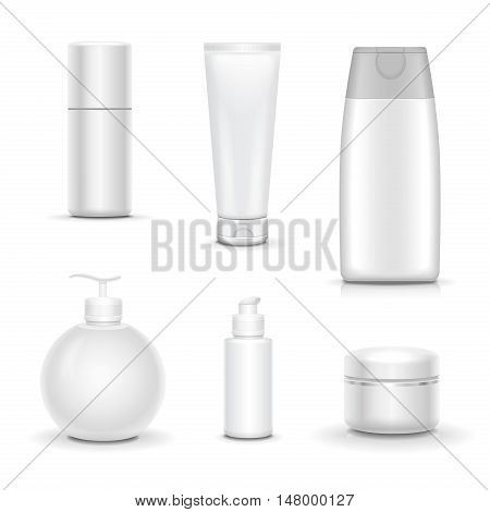 blank cosmetic package collection Packages Beauty Products Set Realistic set isolated on white background