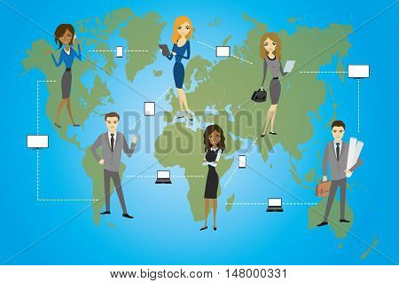 Global Business. Business concept communication between businessmen using smart gadgets flat design vector illustration