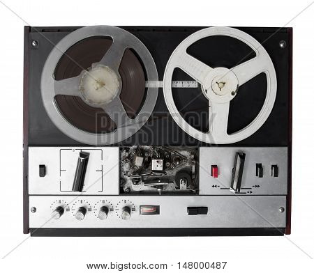 Vintage audio bobbin system isolated on white