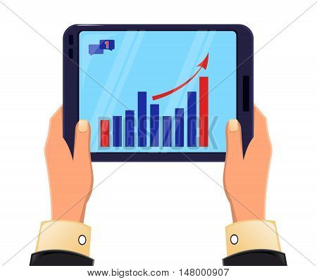 Tablet in man's hands. Growing graph. Icon modern technologies. Vector stock illustration