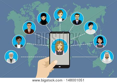 Global Communication between people using a smart phone flat designvector illustration