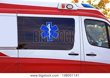 Star of Life with Rod of Asclepius, Medical symbol of emergency on Ambulance.